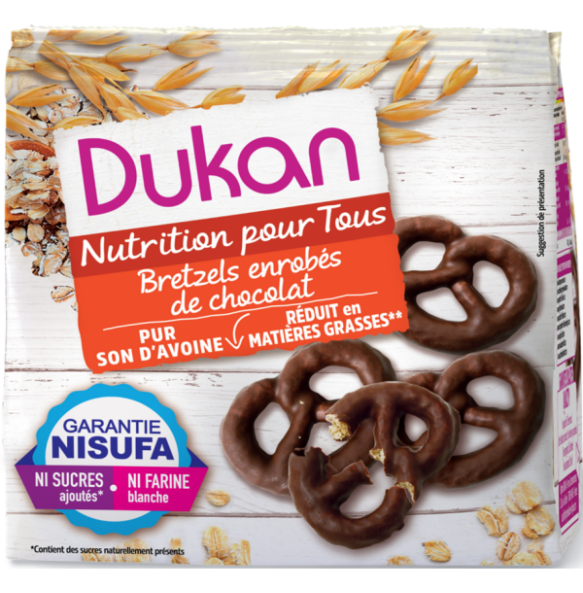Dukan Pretzels βρώμης με επικάλυψη σοκολάτας - 100γρ