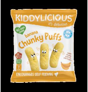 Kiddylicious Chunky Puffs 7m+ Γαριδάκια Μπανάνα 10γρ